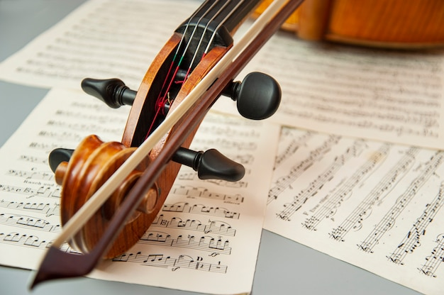 Close-up violino com folhas com notas musicais