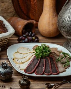 Close-up vista da variedade de carnes