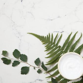 Close-up vista de creme e folhas no fundo de mármore