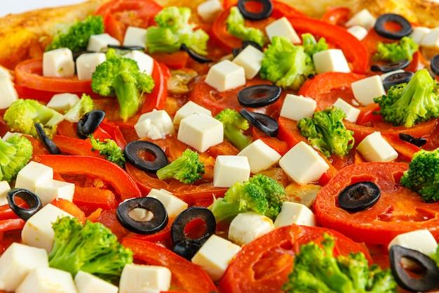 Close-up vista de pizza fresca e muito saborosa