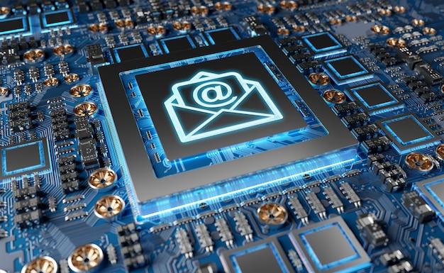 Close-up, vista, de, um, modernos, gpu, cartão, com, email, ícone