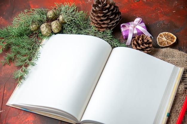 Close-up vista do caderno espiral aberto com caneta vermelha e ramos de pinheiro na toalha em fundo escuro