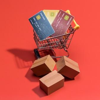 Close-up vista do conceito de compras on-line