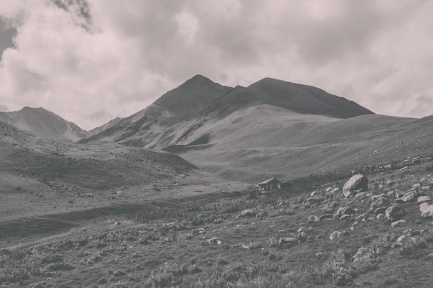 Close-up vista montanhas cenas no parque nacional dombai, cáucaso, rússia, europa. paisagem de verão, clima ensolarado, céu azul dramático e dia ensolarado