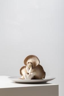 Close vertical de cogumelos ostra em um prato sobre a mesa sob as luzes