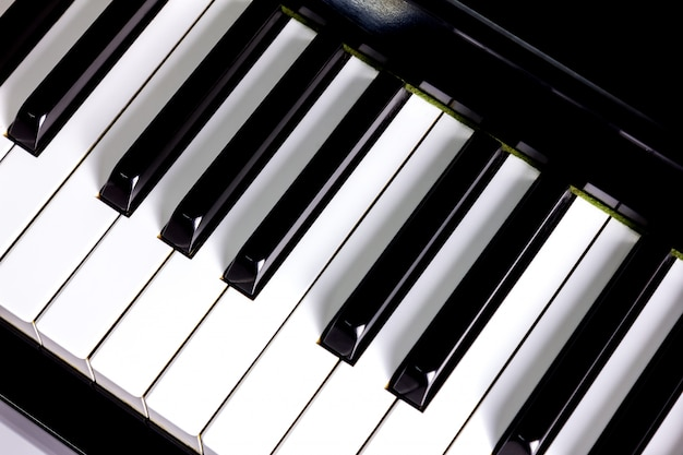 Closeup, a, teclado piano, fundo