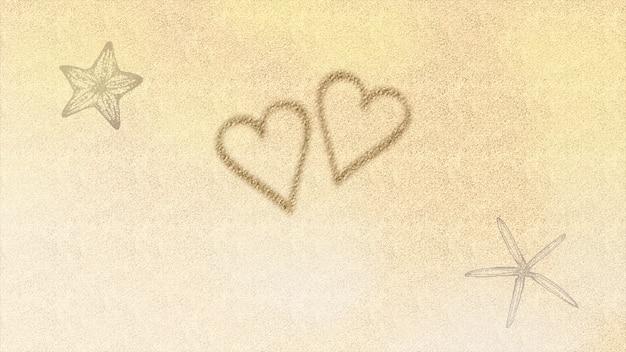 Closeup amor coração e estrela do mar na praia, plano de fundo do casamento. estilo de ilustração 3d pastel elegante e luxuoso para casamento ou tema romântico