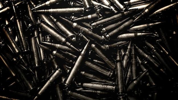Closeup armas patronos, fundo cinematográfico militar. estilo de ilustração 3d elegante e luxuoso para filmes e cinematográficos