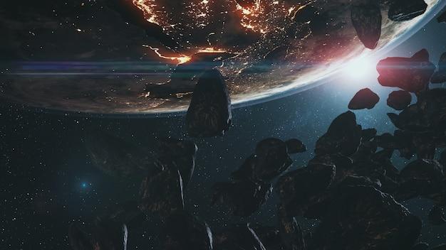 Closeup asteróides na órbita da terra na abordagem do espaço sideral.