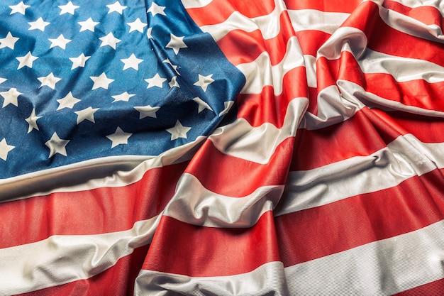Closeup da bandeira americana com babados