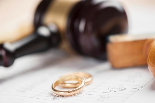 Closeup de anéis de casamento