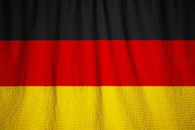 Closeup, de, babado, alemanha, bandeira, alemanha, bandeira, soprando, em, vento
