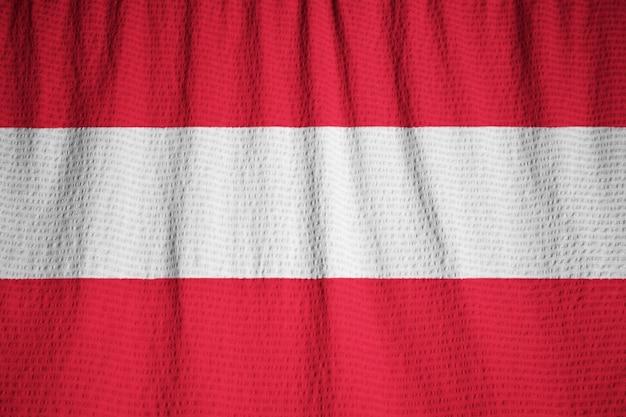 Closeup, de, babado, áustria, bandeira, áustria, bandeira, soprando, em, vento