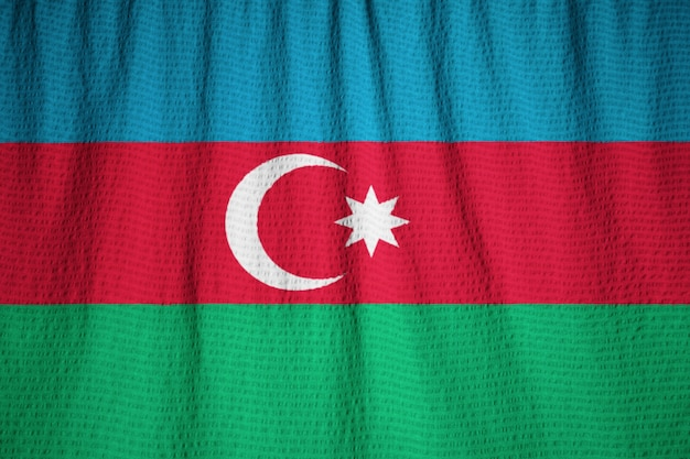 Closeup, de, babado, azerbaijão, bandeira, azerbaijão bandeira, soprando, em, vento