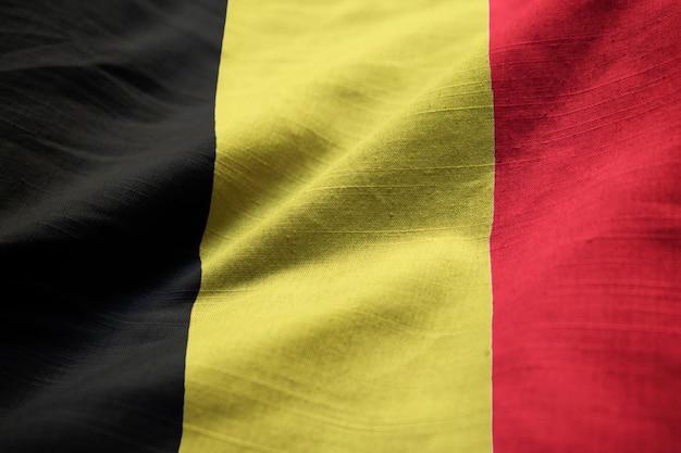 Closeup, de, babado, bandeira bélgica, bandeira bélgica, soprando, em, vento
