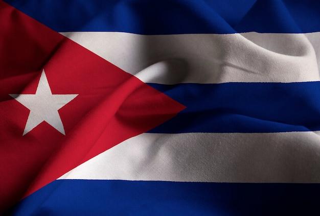 Closeup, de, babado, bandeira cuba, bandeira cuba, soprando, em, vento