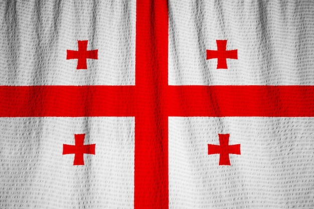 Closeup, de, babado, bandeira geórgia, bandeira geórgia, soprando, em, vento