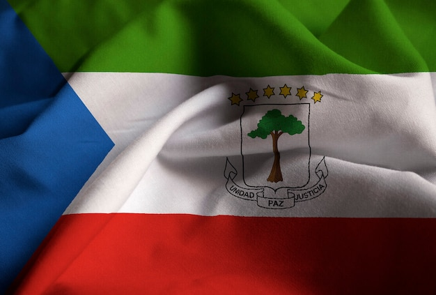 Closeup, de, babado, bandeira guiné equatorial, bandeira guiné equatorial, soprando, em, vento