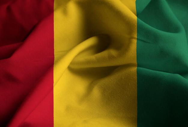 Closeup, de, babado, bandeira guiné, guiné bandeira, soprando, em, vento