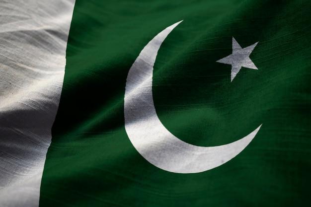 Closeup, de, babado, bandeira paquistão, bandeira paquistão, soprando, em, vento