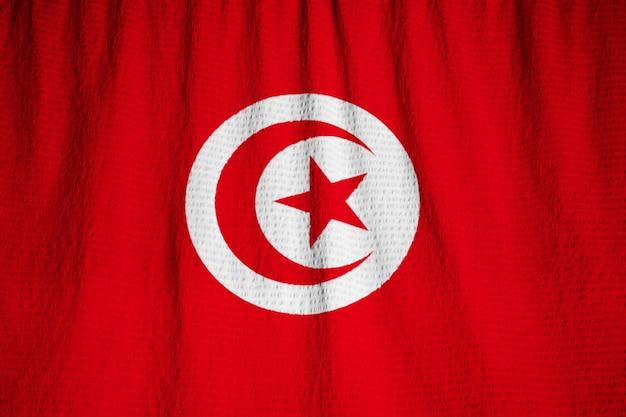Closeup, de, babado, bandeira tunísia, tunísia bandeira, soprando, em, vento
