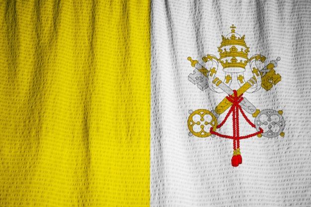 Closeup, de, babado, cidade do vaticano, bandeira, cidade vaticano, bandeira, soprando, em, vento