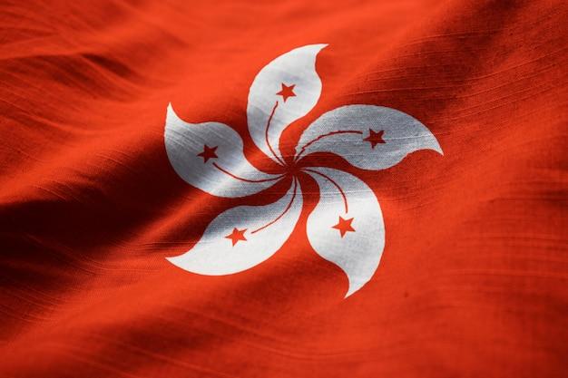 Closeup, de, babado, hong kong, bandeira, hong kong, bandeira, soprando, em, vento