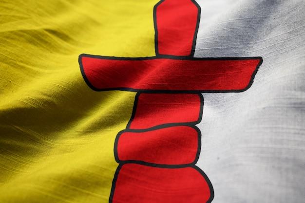 Closeup, de, babado, nunavut bandeira, nunavut, bandeira, soprando, em, vento