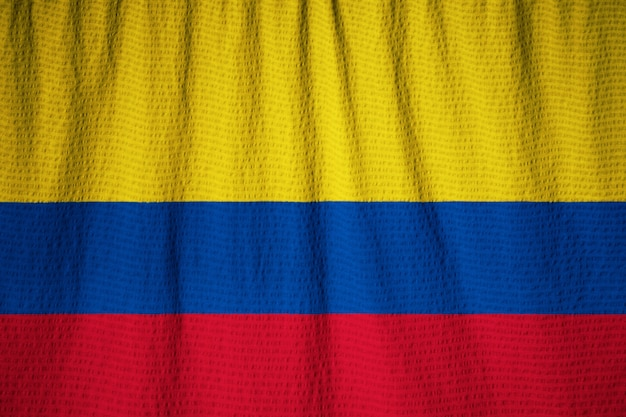 Closeup, de, babados, bandeira colômbia, bandeira columbia, soprando, em, vento