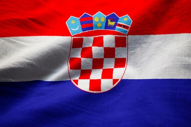 Closeup, de, babados, bandeira croácia, bandeira croácia, soprando, em, vento