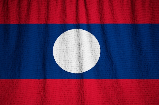 Closeup, de, babados, bandeira laos, laos, bandeira, soprando, em, vento