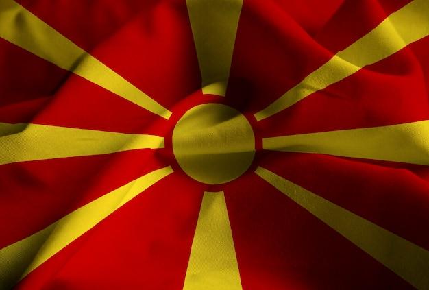 Closeup, de, babados, bandeira macedonia, bandeira macedonia, soprando, em, vento