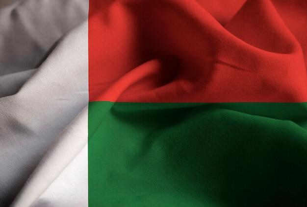 Closeup, de, babados, bandeira madagascar, madagascar, bandeira, soprando, em, vento