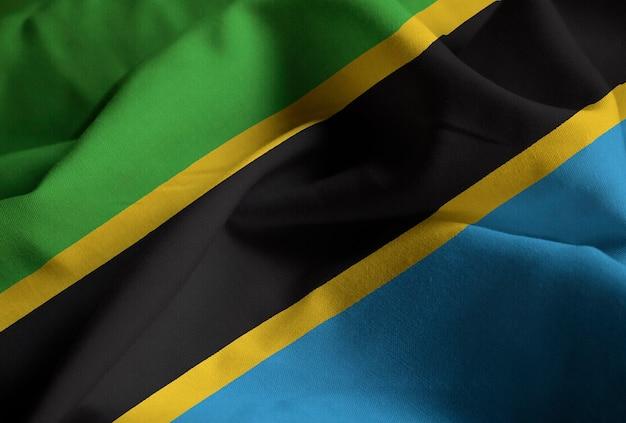 Closeup, de, babados, bandeira tanzânia, bandeira tanzânia, soprando, em, vento