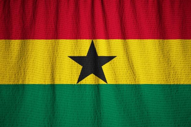 Closeup, de, babados, ghana bandeira, ghana bandeira, soprando, em, vento