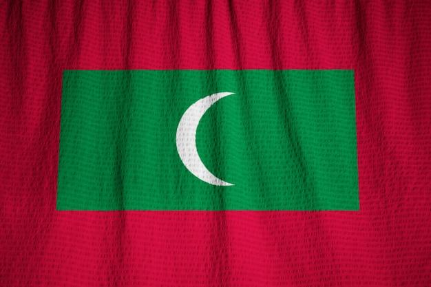 Closeup, de, babados, maldives, bandeira, maldives, bandeira, soprando, em, vento