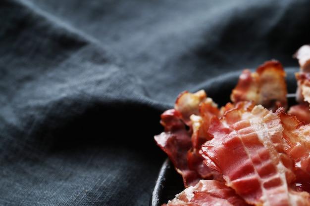 Closeup de bacon frito