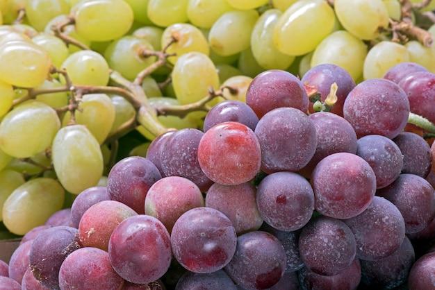 Closeup de cachos de uvas