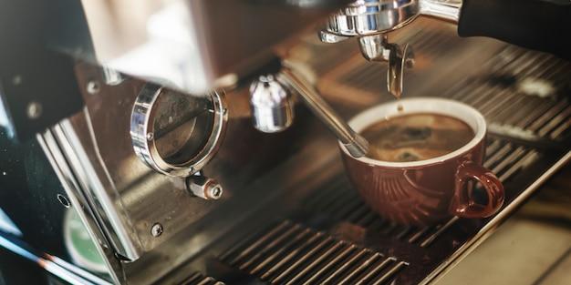 Closeup, de, café, máquina