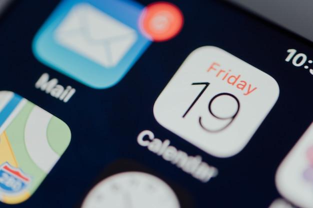 Closeup, de, calendário, app
