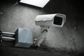 Closeup, de, câmera cctv, parede