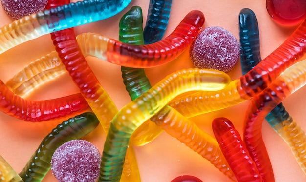Closeup, de, colorido, geléia, vermes, e, outro, sortido, geléias
