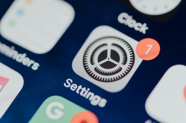 Closeup de configurações móveis