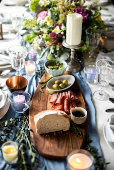 Closeup, de, copo casamento, tabela, armando, com, alimento