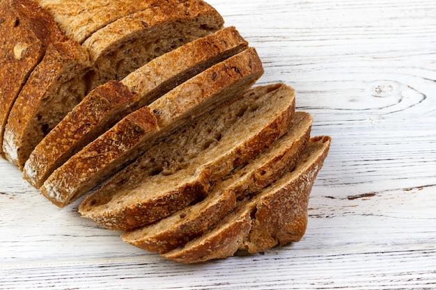 Closeup, de, cortado, pão