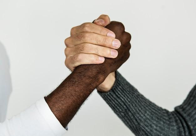 Closeup, de, diverso, mãos, prendendo um ao outro