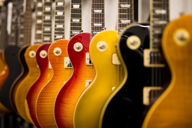 Closeup, de, elétrico, violões