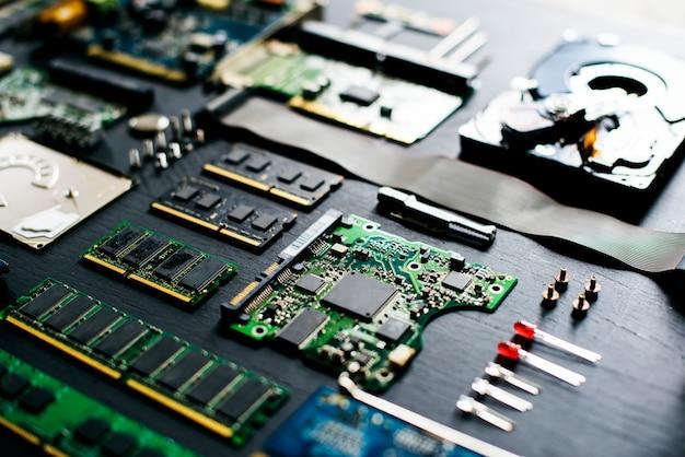 Closeup, de, eletrônica, componentes computador, microprocessors, mainboard