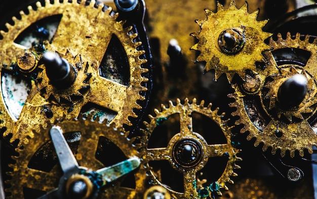 Closeup de engrenagens e engrenagens relógio