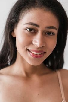 Closeup, de, étnico, mulher
